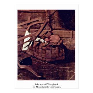 Adoração do pastor por Michelangelo Caravaggio Cartão Postal