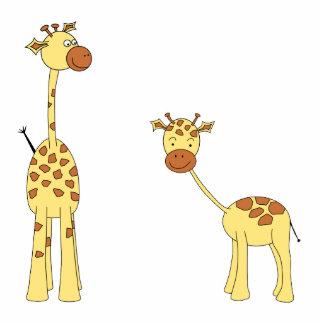 Adulto e girafa do bebê. Desenhos animados Esculturafoto