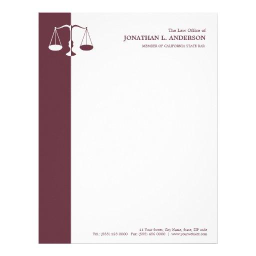 Advogado/advogado - cabeçalho de Borgonha Papéis De Carta Personalizados