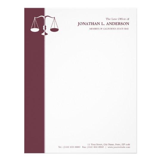 Advogado/advogado - cabeçalho de Borgonha Papel Timbrado