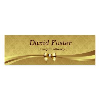 Advogado/advogado - damasco brilhante do ouro cartão de visita skinny