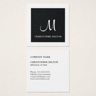 Advogado branco preto elegante simples do cartão de visitas quadrado