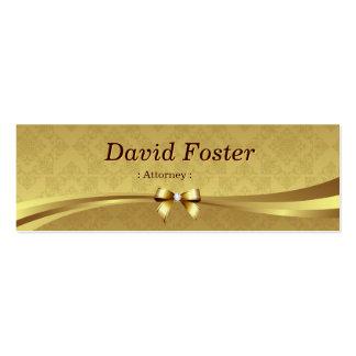 Advogado - damasco brilhante do ouro cartão de visita skinny