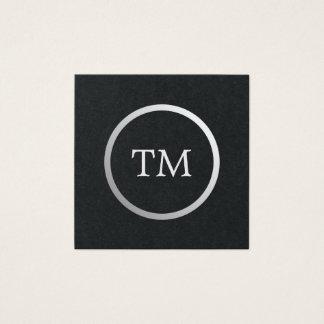 Advogado de prata do monograma do falso preto cartão de visitas quadrado