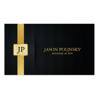 Advogado elegante do preto e do ouro na lei cartões de visitas