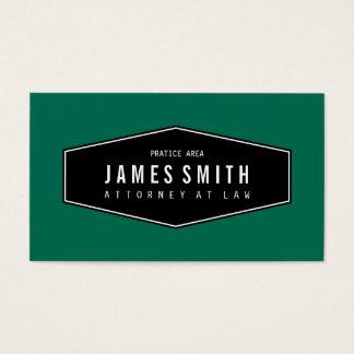 Advogado elegante retro do verde de garrafa cartão de visita
