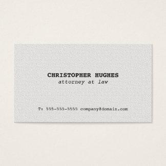 Advogado elegante simples minimalista do branco da cartão de visitas