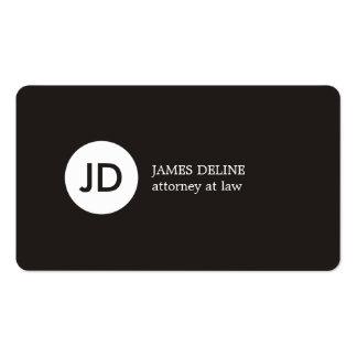 Advogado escuro minimalista do monograma do branco cartão de visita