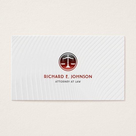Advogado firme do advogado de escalas vermelhas de cartão de visitas