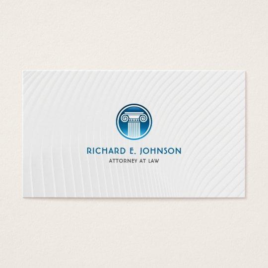 Advogado firme do advogado do ícone azul da coluna cartão de visitas