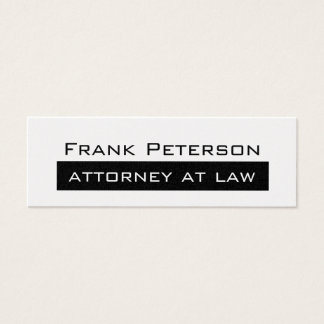 Advogado minimalista branco preto da platina na cartão de visitas mini