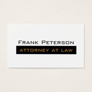 Advogado minimalista branco preto do ouro na lei cartão de visitas