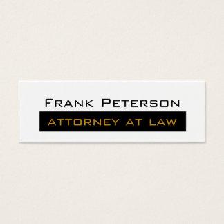Advogado minimalista branco preto do ouro na lei cartão de visitas mini