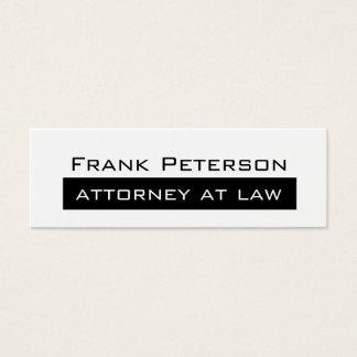 Advogado moderno minimalista branco preto na lei cartão de visitas mini
