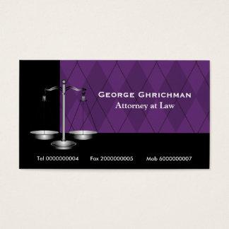 Advogado na escala da lei do roxo do preto de cartão de visitas