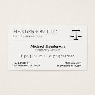 Advogado na escala do preto da lei cartão de visitas
