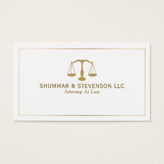 Advogado na escala & na beira Lei-Simples do ouro Cartão De Visitas