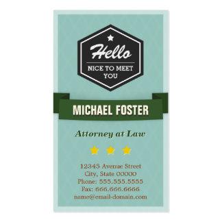 Advogado na lei - estilo do vintage olá! cartão de visita