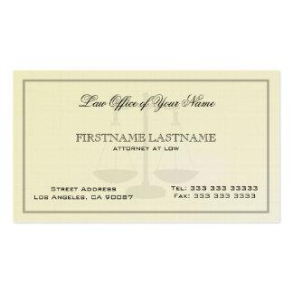 Advogado na textura de linho simples do escritório cartão de visita