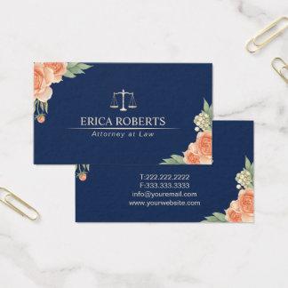 Advogado no advogado floral dos azuis marinhos do cartão de visitas