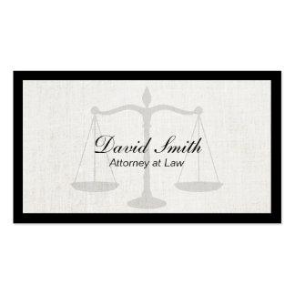 Advogado no fundo de linho da beira do preto da cartão de visita