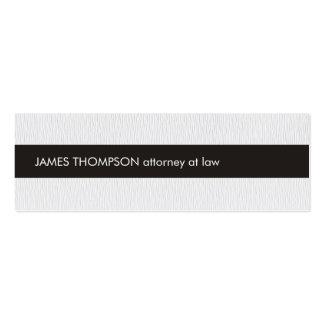 Advogado preto branco da listra da textura cartão de visita skinny