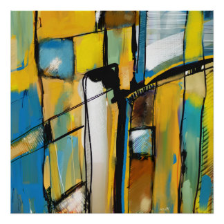 """Afixar quadrado """"Abstract in Yellow & Blue """" Poster"""