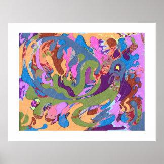 """""""Afogando"""" a arte abstracta Poster"""