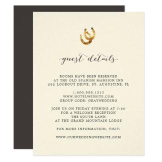 Afortunado no cartão de detalhes do convidado do
