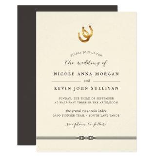 Afortunado no convite em ferradura do casamento do