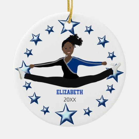 Afro-americano do elogio da dança azul e preto ornamento de cerâmica redondo