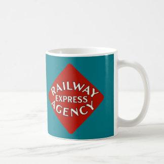 Agência expressa da estrada de ferro caneca de café