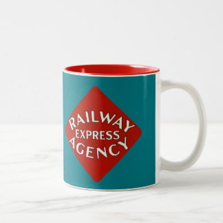 Agência expressa da estrada de ferro caneca de café em dois tons