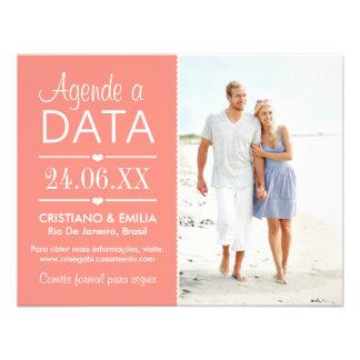 Agende a Data Foto Cartão  | Cores Rosa e Branco Personalized Invitations