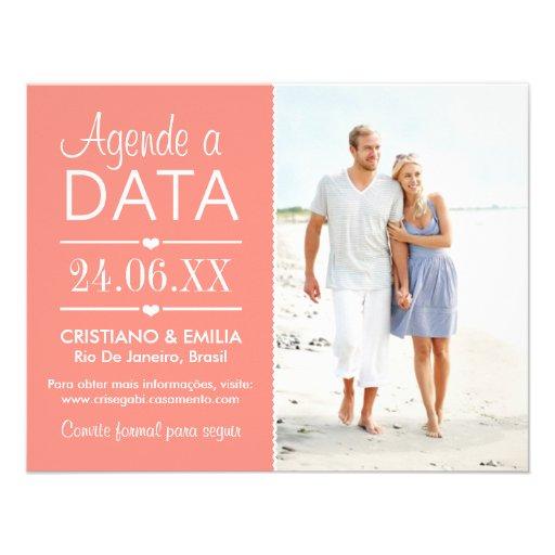 Agende a Data Foto Cartão  | Cores Rosa e Branco Convites Personalizados