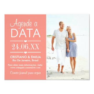 Agende a Data Foto Cartão  | Cores Rosa e Branco Convite 10.79 X 13.97cm