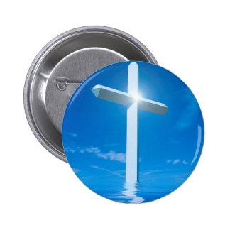 Água azul transversal branca da cristandade religi bóton redondo 5.08cm