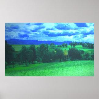 Água-cor rural da paisagem poster