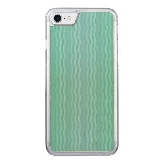 Água-marinha ondulada de turquesa das listras capa iPhone 7 carved