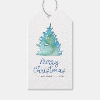 Aguarela da árvore de Natal Etiqueta Para Presente