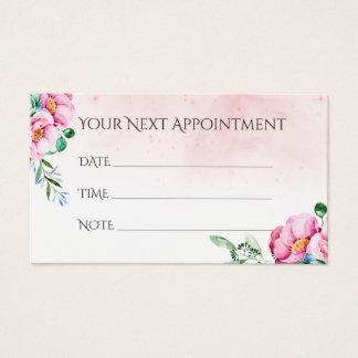 Aguarela do lembrete da nomeação do salão de cartão de visitas