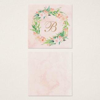 Aguarela do pêssego & cartão floral da placa