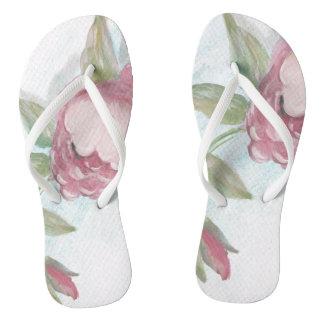 Aguarela do rosa do rosa chinelos
