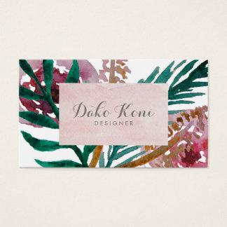 Aguarela floral cartão de visitas
