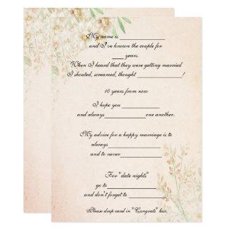 Aguarela floral, conselho engraçado do casamento, convite 13.97 x 19.05cm