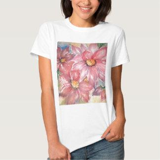 aguarela flores camisetas