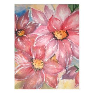 aguarela flores cartão postal