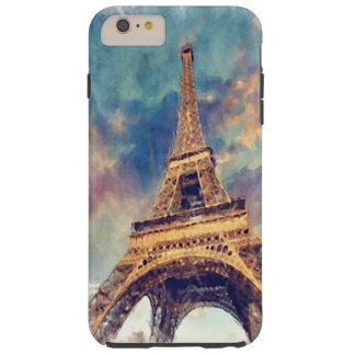 Aguarela Pastel bonito da torre Eiffel chique de Capas iPhone 6 Plus Tough