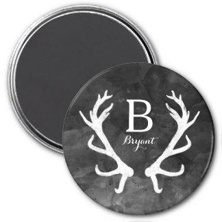 Aguarela preta e monograma rústico dos Antlers dos Ima De Geladeira