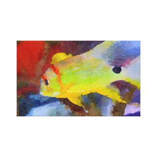 Aguarela tropical amarela dos peixes impressão em tela